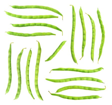 Isolated bean pods. Collection of raw green beans (haricots) isolated on white background 写真素材 - 129155364
