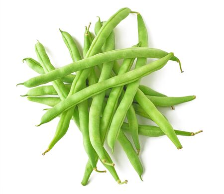 Isolated beans. Pile of raw green beans (haricot), top view, isolated on white background