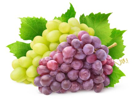 Isolated grape varieties. Bunch of white and red grapes with leaves isolated on white background with clipping path 版權商用圖片