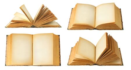 Isolated books with copy space. Collection of open old books with blank pages isolated on white background 版權商用圖片