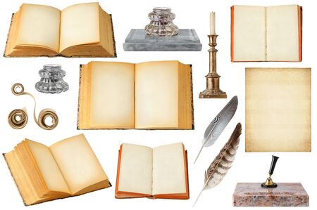Isolated vintage writing objects. Collection of open old books with copy space, blank sheet of paper, scrolls, inkwells, quills and candlestick isolated on white background