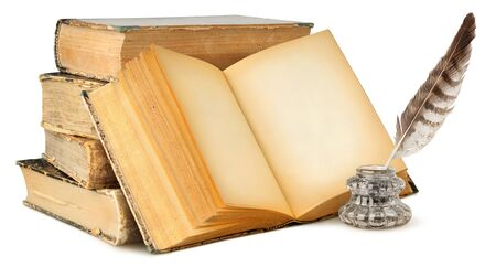 Isolated books with empty pages. Open blank book, stack of vintage books and ink bottle with quill isolated on white background
