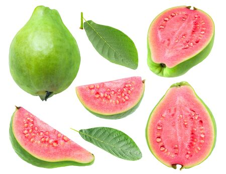Isolated guava. Collection of green pink fleshed guava fruit pieces and leaves isolated on white background