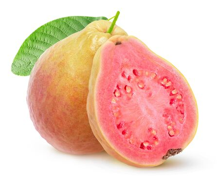 Isolated yellow guava with pink flesh. One whole fruit and a half isolated on white background with clipping path Stock Photo