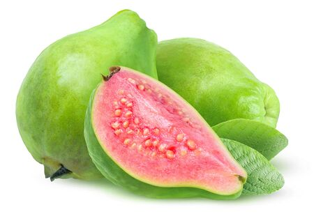 Isolated guava fruits. Three green guavas with pink flesh isolated on white background 版權商用圖片