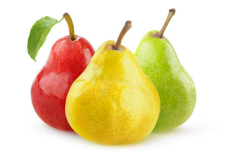 Isolated pear fruits. Yellow, green and red pears isolated over white background 版權商用圖片