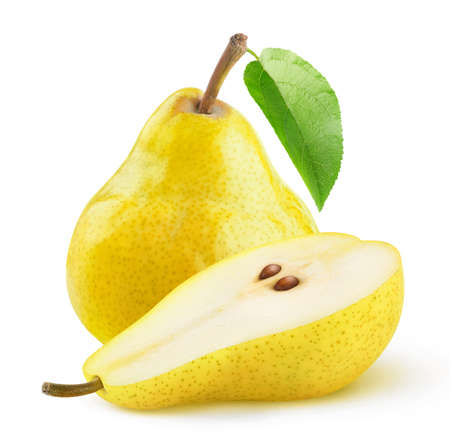 Isolated yellow pears. One and a half pears isolated over white background 写真素材