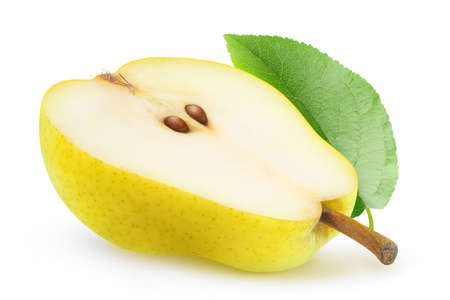 Isolated pear. One half of yellow pear with seeds and leaf isolated on white background