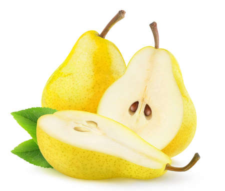 Isolated yellow pears. One whole pear fruit and one cut in half isolated on white background