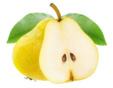 Isolated pear fruits. Halved yellow pears isolated on white background 写真素材