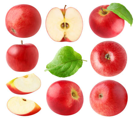 Isolated red apples. Collection of whole and cut red apples isolated on white background