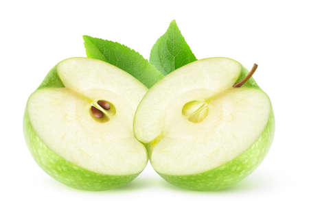 Isolated cut green apple. Two halves of Granny smith apple fruit isolated on white background