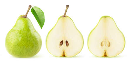 Whole green bartlett pear with leaf and pear halves in a row isolated on white background