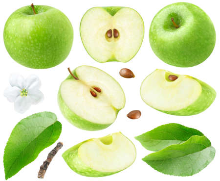 Isolated green apples. Collection of whole and cut  green apples, leaves and flower isolated on white background