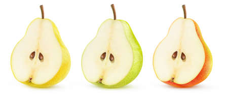 Isolated half of pear fruit. Yellow, green and red pear halves in a row isolated on white background 写真素材