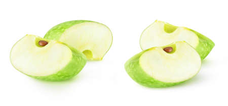 Isolated apple wedges. Two slices of green Granny Smith apples isolated on white background