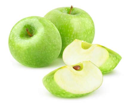 Isolated green apples. Two whole Granny Smith apples and two wedges isolated on white background 写真素材