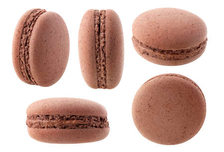 Chocolate macaroon at different angles collection isolated on white background