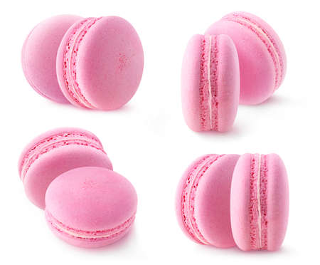 Isolated pink macaroon collection. Two strawberry or raspberry macarons isolated on white background