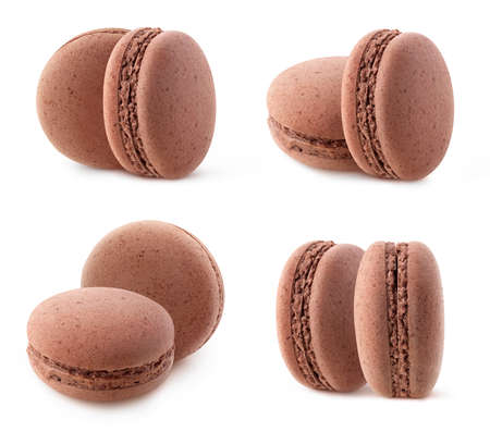 Two chocolate macaroons, collection isolated on white background 写真素材