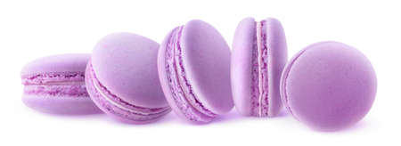 Five blueberry macaroons in a row isolated on white background 写真素材
