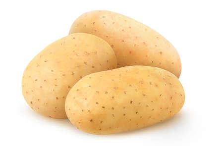 Three whole raw washed potatoes isolated on white background