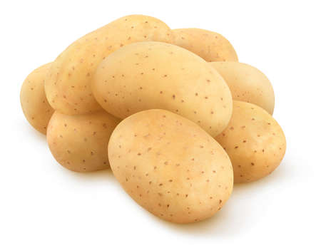 Isolated potatoes. Pile of raw washed potatoes isolated on white background