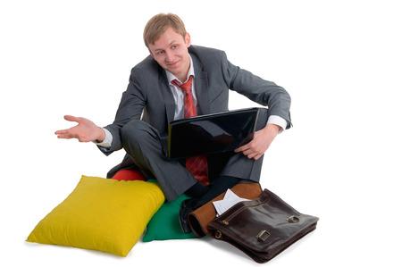 feet crossed: The confused person sits having crossed feet
