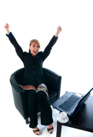 rejoices: The businesswoman rejoices to the success