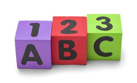 numeracy: ABC 123 Foam Blocks Isolated on a White Background.