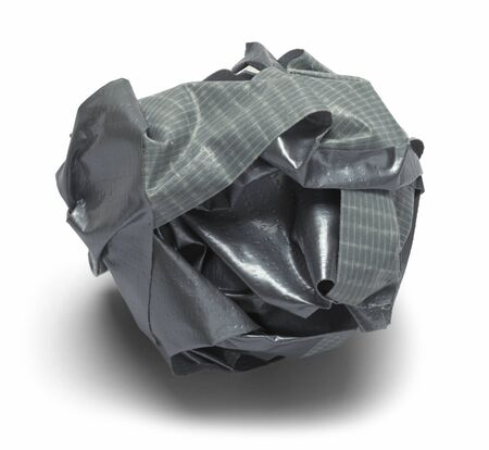 adhere: Grey Ball of Duck Tape Isolated on a White Background. Stock Photo