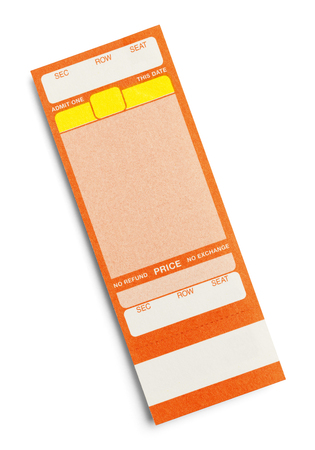 Orange Event Ticket With Copy Space Isolated on a White Background.