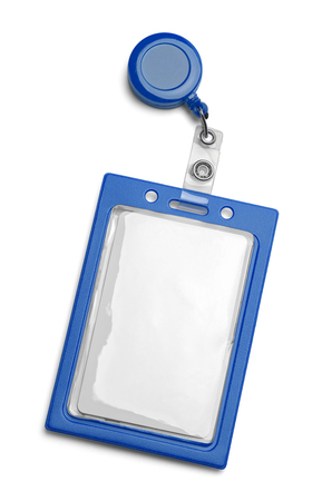 Blue ID Card Holder Isolated on a White Background. Stock Photo