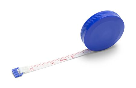 Round Blue Tape Measure Isolated on White Background. Stock Photo