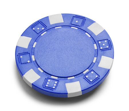 Blue Poker Chip with Copy Space Isolated on a White Background.
