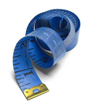 unravel: Blue Spiral Sewing Tape Measure Isolated on a White Background.