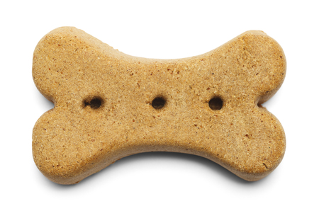 Biscuit Dog Bone Isolated on a White Background. Stock Photo