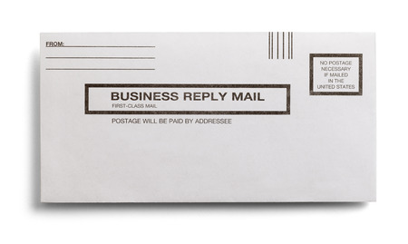 Postage Paid Business Reply Letter Isolated on a White Background.