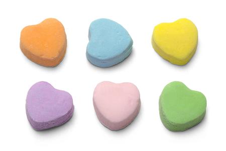 Caramelle vuote Valentiens cuori isolati su sfondo bianco. Archivio Fotografico - 66211711