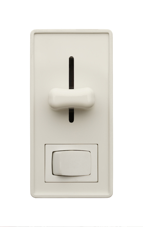 dimming: Wall Light Switch with Dimmer Isolated on a White Background.