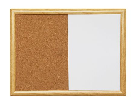 framed: Empty Framed Dry Erase Wood Cork Board Isolated on a White Background.