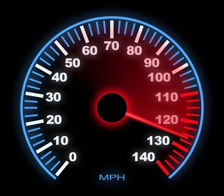 lite: Lite Up Dashboard Speedometer With Motion Blur on Black.