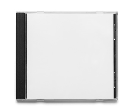 Blank Black and White CD Case Top View Isolated on White Background. Stock Photo