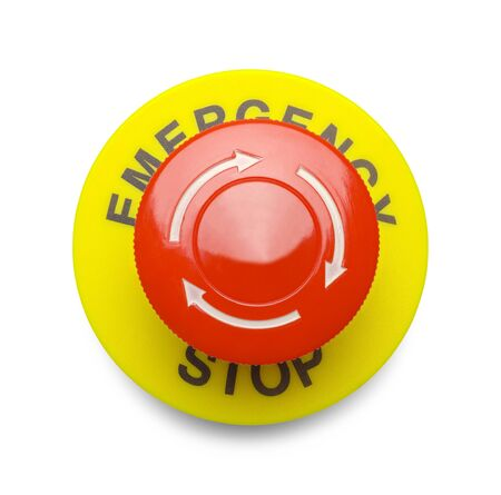 Large Red Emergency Stop Button Isolated on a White Background.