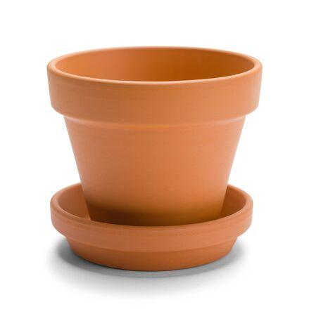 gratefulness: Small Orange Terracotta  Pot Isolated on a White Background. Stock Photo