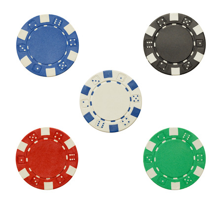 Poker Chips with Copy Space Isolated on a White Background.