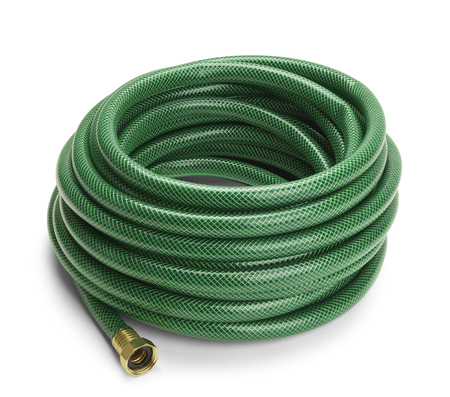 Green Garden Hose Rolled Up Isolated on a White Background.
