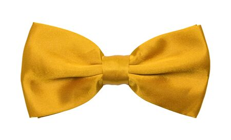 specific clothing: Yellow Tuxedo Bowtie Isolated on a White Background.