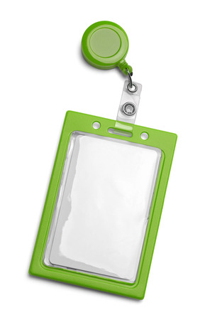 Green ID Card Holder Isolated on a White Background.