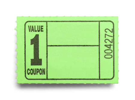 Small Green Coupon Ticket Isolated on a White Background.
